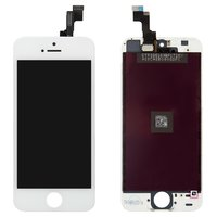 LCD iPhone 5S, (white, copy, with touchscreen, with frame)