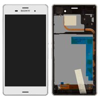 LCD for Sony D6633 Xperia Z3 DS Cell Phone, (white, with touchscreen, with front panel)