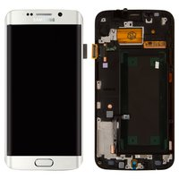 LCD for Samsung G925F Galaxy S6 EDGE Cell Phone, (white, with touchscreen, with front panel)
