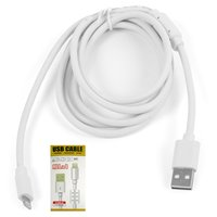 USB Data Cable, (USB type-A, Lightning for Apple, 150 cm, white)