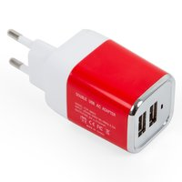 Charger for Cell Phones; Tablets, (plug-in, 220 V, (2 USB outputs 5V 2,1A), red, USB type-A)