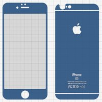 Tempered Glass Screen Protector All Spares for Apple iPhone 6, iPhone 6S Cell Phones, (0,26 mm 9H, front and back, dark blue)