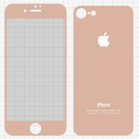Tempered Glass Screen Protector All Spares for Apple iPhone 7 Cell Phone, (0,26 mm 9H, front and back, pink)