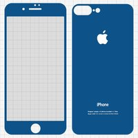 Tempered Glass Screen Protector All Spares for Apple iPhone 7 Plus Cell Phone, (0,26 mm 9H, front and back, dark blue)