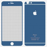 Tempered Glass Screen Protector All Spares for Apple iPhone 6 Plus, iPhone 6S Plus Cell Phones, (0,26 mm 9H, front and back, dark blue)