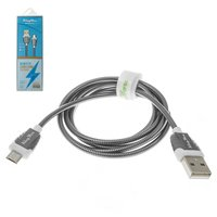 USB Data Cable KingYou KL-32, (USB type-A, micro USB type-B, 110 cm, 2.1 A, grey)