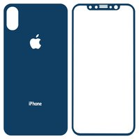 Tempered Glass Screen Protector All Spares for Apple iPhone X Cell Phone, (0,26 mm 9H, front and back, dark blue)