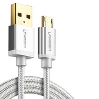 USB Data Cable UGREEN, (USB type-A, micro USB type-B, 150 cm, 2 A,  nylon braided , white, silver)