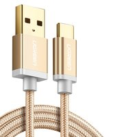 USB Data Cable UGREEN, (USB type-A, USB type C, 100 cm, 2.4 A,  nylon braided , golden)