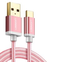 USB Data Cable UGREEN, (USB type-A, USB type C, 100 cm, 2.4 A,  nylon braided , pink) #6957303828661