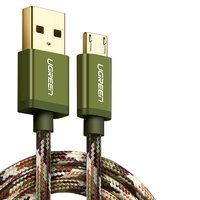 USB Data Cable UGREEN, (USB type-A, micro USB type-B, 100 cm, 2 A,  nylon braided , green) #6957303848843