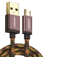 USB Data Cable UGREEN, (USB type-A, micro USB type-B, 100 cm, 2 A,  nylon braided , coffee-coloured)