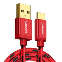 USB Data Cable UGREEN, (USB type-A, USB type C, 100 cm, 2.4 A,  nylon braided , red)