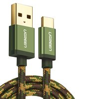 USB Data Cable UGREEN, (USB type-A, USB type C, 100 cm, 2.4 A,  nylon braided , green)