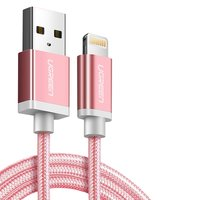 USB Data Cable UGREEN, (USB type-A, Lightning for Apple, 200 mm, MFi, 2.4 A,  nylon braided , pink)