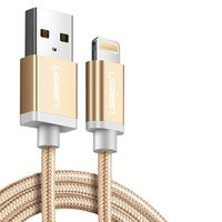 USB Data Cable UGREEN, (USB type-A, Lightning for Apple, 25 cm, MFi, 2.4 A,  nylon braided , golden)