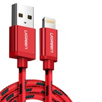 USB Data Cable UGREEN, (USB type-A, Lightning for Apple, 100 cm, MFi, 2.4 A,  nylon braided , red) #6947303844791