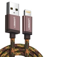 USB Data Cable UGREEN, (USB type-A, Lightning for Apple, 25 cm, MFi, 2.4 A,  nylon braided , coffee-coloured)
