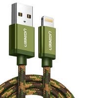 USB Data Cable UGREEN, (USB type-A, Lightning for Apple, 25 cm, MFi, 2.4 A,  nylon braided , green)