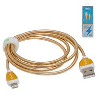 USB Data Cable KingYou KL-30, (USB type-A, Lightning for Apple, 110 cm, 2.1 A, golden)