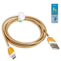 USB Data Cable KingYou KL-32, (USB type-A, micro USB type-B, 110 cm, 2.1 A, golden)
