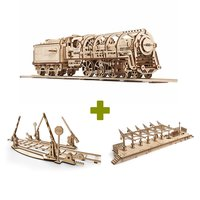 Mechanical 3D Puzzle UGEARS Bundle 3 in 1: Locomotive + Rails + Railway Platform