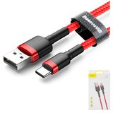 USB Data Cable Baseus, (USB type-A, USB type C, 100 cm, 3 A,  nylon braided , red) #CATKLF-B09>