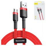 USB Data Cable Baseus, (USB type-A, micro USB type-B, 100 cm, 2.4 A,  nylon braided , red) #CAMKLF-B09>