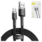 USB Data Cable Baseus, (USB type-A, USB type C, 100 cm, 3 A,  nylon braided , black) #CATKLF-BG1>