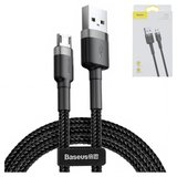 USB Data Cable Baseus, (USB type-A, micro USB type-B, 100 cm, 2.4 A,  nylon braided , black) #CAMKLF-BG1>