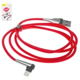USB Cable Baseus, (USB type-A, Lightning, 100 cm, red, Γ-shaped, with indicator, nylon braided, 2.4 A,  for phone charging ) #CALMVP-D09>