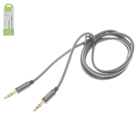 AUX кабель Hoco UPA03, з TRS 3,5 мм на TRS 3,5 мм, 100 см, сірий, в нейлоновому обплетенні