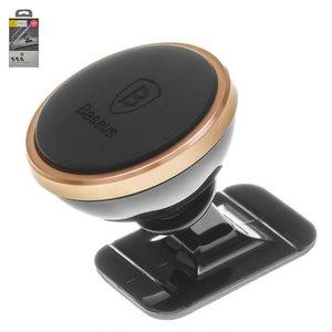 Car Holder Baseus, (golden, black, magnetic, adhesive base) #SUGENT-NT0V