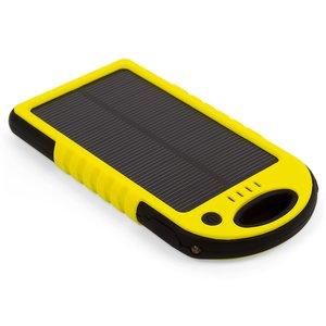 Cargador solar portátil con batería de 5000 mAh (2×USB, IP65, amarillo)
