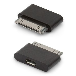 Адаптер micro-USB to 30 pin для мобильных телефонов Apple iPhone 2G, iPhone 3G, iPhone 3GS, iPhone 4, iPhone 4S; планшетов Apple iPad, iPad 2, iPad 3; MP3-плееров Apple iPod Mini 1G, iPod Nano 3G, iPod Nano 4G, iPod Photo 4G, iPod Touch 1G, iPod Touch 2G, iPod Touch 3G, iPod Touch 4G, iPod Video 30GB, iPod Video 80GB, черный