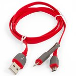 USB дата-кабель Bilitong micro USB, 2 in 1 для мобильных телефонов Apple iPhone 5, iPhone 5C, iPhone 5S, iPhone 6, iPhone 6 Plus, iPhone 6S, iPhone 6S Plus, iPhone SE; планшетов Apple iPad 4, iPad Air (iPad 5), iPad Air 2, iPad Mini, iPad Mini 2 Retina, iPad Mini 3 Retina, micro-USB тип-B, lightning для apple