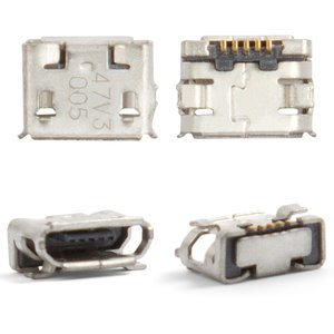 Charge Connector for Nokia 6500c, 7900, 8800 Arte; Sony Ericsson W100, X10 mini Cell Phones, (5 pin, micro USB type-B)