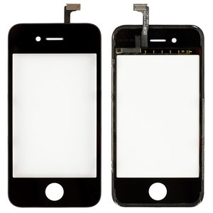 Touchscreen for Apple iPhone 4 Cell Phone, (black, with frame)