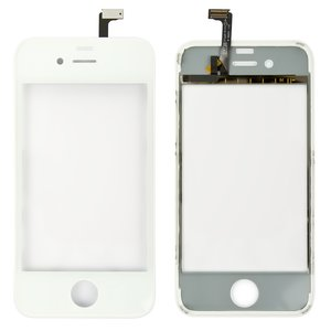 Touchscreen for Apple iPhone 4 Cell Phone, (white, with frame)