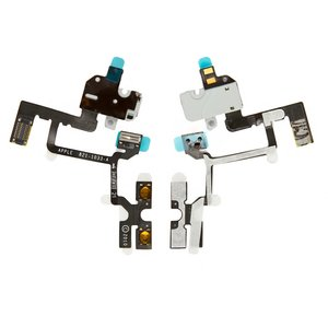 Flat Cable for Apple iPhone 4 Cell Phone, (sound button, headphone connector, white, with components)