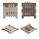 SIM Card Connector for Samsung C3222, C3350, C3530, C3750, C3752, E1050, E1230, E1232, E2222, E2530, E2600, E2652, E3210, I5510, I9000 Galaxy S, I9001 Galaxy S Plus, I9220 Galaxy Note, N7000 Note, N7005 Note, S3350, S3850 Corby II, S5300 Pocket, S5360 Galaxy Y, S5380 Wave Y, S5570 Galaxy Mini, S5610, S6500 Galaxy Mini 2 Cell Phones
