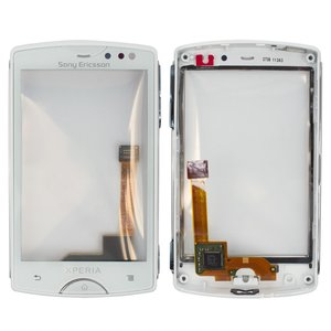 Touchscreen for Sony Ericsson ST15 Cell Phone, (white, with front panel)