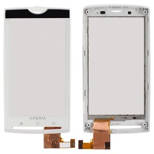 Touchscreen for Sony Ericsson X10 Cell Phone, (with front panel, white)