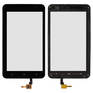 Touchscreen for ZTE V9E Cell Phone, (with frame, capacitive, black)