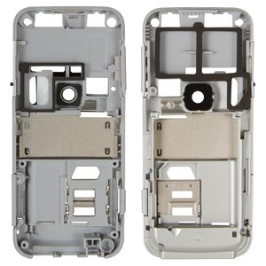 Housing Middle Part for Nokia 6120c, 6121c Cell Phones, (silver, complete)