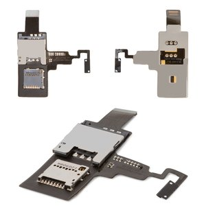 SIM Card Connector for HTC T328e Desire X Cell Phone, (memory card connector, with flat cable, with ON/OFF button)