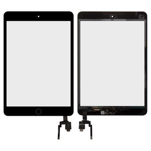 Touchscreen for Apple iPad Mini 3 Retina Tablet, (with IC, with HOME button, black)