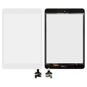 Touchscreen for Apple iPad Mini, iPad Mini 2 Retina Tablets, (with IC, with HOME button, white)