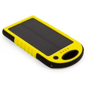 Portable Solar Charger 5000 mAh (2×USB, IP65, yellow)
