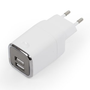 Charger, (white, 220 v, (2 USB outputs 5V 3A), plug-in)